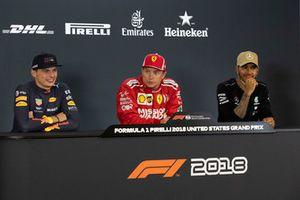 Max Verstappen, Red Bull Racing, Kimi Raikkonen, Ferrari ve Lewis Hamilton, Mercedes AMG F1, basın toplantısında