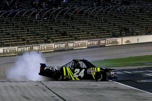 Justin Haley, GMS Racing, Chevrolet Silverado Fraternal Order Of Eagles celebrates his win with a burnout