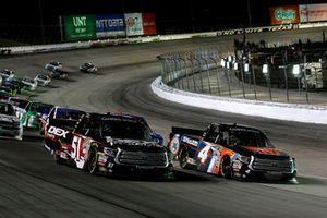 Todd Gilliland, Kyle Busch Motorsports, Toyota Tundra JBL/SiriusXM and Harrison Burton, Kyle Busch Motorsports, Toyota Tundra DEX Imaging restart