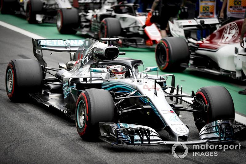 Lewis Hamilton, Mercedes AMG F1 W09 EQ Power+, arrives in Parc Ferme, after securing pole