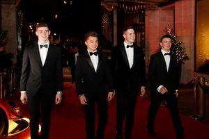 L'arrivo dei candidati al McLaren Autosport BRDC Award Jamie Caroline, Tom Gamble, Max Fewtrell e Kiern Jewiss
