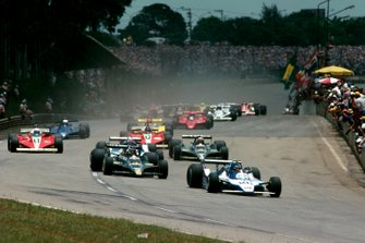 Race winner Jacques Laffite, Ligier JS11 leads third place Carlos Reutemann, Lotus 79