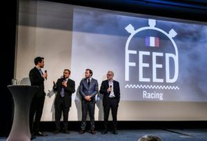 Serge Saulnier, Director de Circuit Magny-Cours, Patrick Lemarie, co-fundador de Feed racing, Jacques Villeneuve, co-fundador de Feed racing