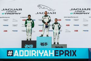 The PRO class podium: Race winner Simon Evans, Team Asia New Zealand, second place Sérgio Jimenez, Jaguar Brazil Racing, third place Bryan Sellers, Rahal Letterman Lanigan Racing