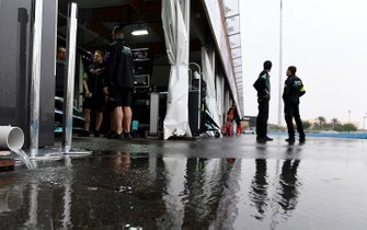 Standing water outside the Panasonic Jaguar Racing garage