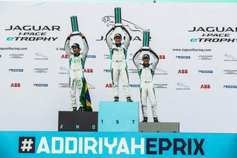 The PRO class podium: Race winner Simon Evans, Team Asia New Zealand, second place Sérgio Jimenez, Jaguar Brazil Racing, third place Bryan Sellers, Rahal Letterman Lanigan Racing