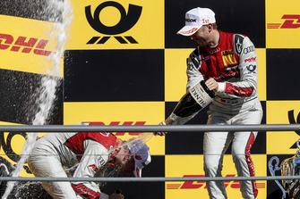 Podium: Race winner René Rast, Audi Sport Team Rosberg and second place Robin Frijns, Audi Sport Team Abt Sportsline