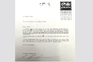Michael Schumacher and Jordan contract