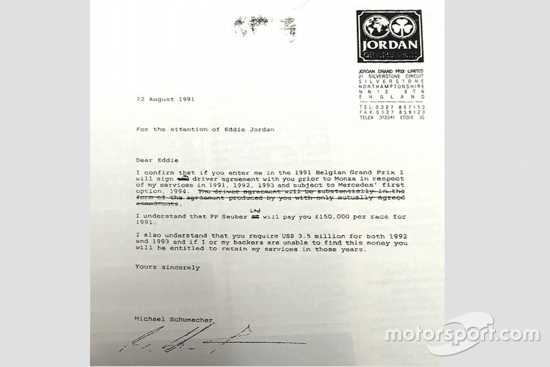 Contrato de Michael Schumacher y Jordan
