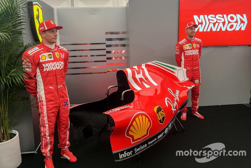 Sebastian Vettel, Kimi Raikkonen, Ferrari, revelan la decoración Mission Winnow