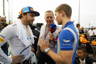 Martin Brundle, Sky Sports F1, interviews Fernando Alonso, McLaren, and Billy Monger on the grid