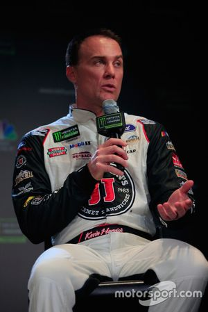 Kevin Harvick, driver of the #4 Jimmy John's Ford talks to the media during media day