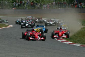 Michael Schumacher, Ferrari F2003-GA leads the start