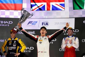 George Russell, ART Grand Prix celebrates on the podium with Artem Markelov, RUSSIAN TIME, and Luca Ghiotto, Campos Racing