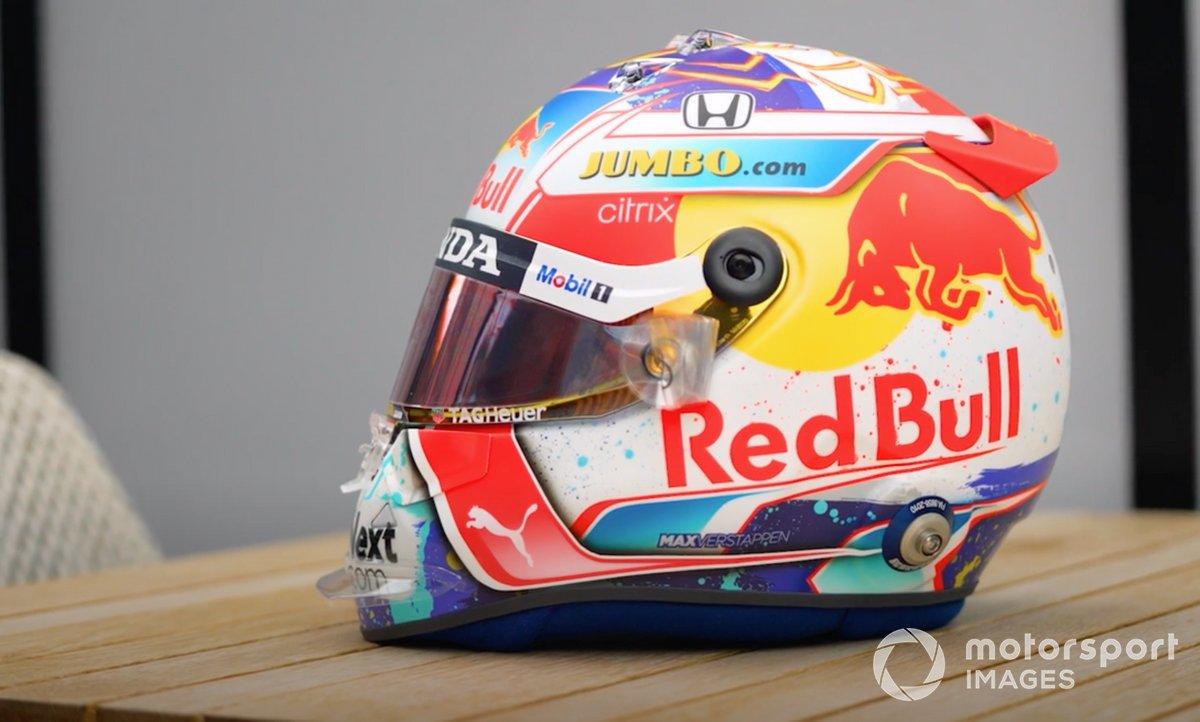 Casco de Max Verstappen, Red Bull Racing, en Zandvoort