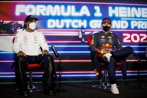 Lewis Hamilton, Mercedes en Max Verstappen, Red Bull Racing in de persconferentie
