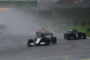George Russell, Williams FW43B, Lewis Hamilton, Mercedes W12, and Daniel Ricciardo, McLaren MCL35M