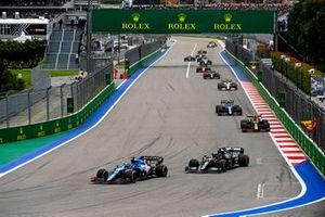 Fernando Alonso, Alpine A521, Lewis Hamilton, Mercedes W12, and Sergio Perez, Red Bull Racing RB16B