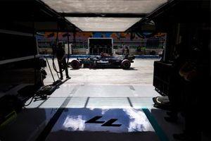 Valtteri Bottas, Mercedes W12, in the pit lane