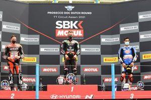 Race winner Jonathan Rea, Kawasaki Racing Team WorldSBK, second place Scott Redding, Aruba.It Racing - Ducati, third place Toprak Razgatlioglu, PATA Yamaha WorldSBK Team