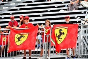 Young Ferrari fans in a grandstand