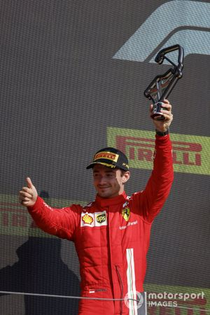 Charles Leclerc, Ferrari, 2nd position, with his trophy