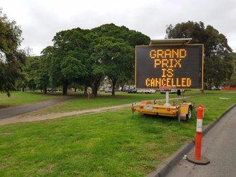 Bord met boodschap: Grand Prix van Australië is afgelast