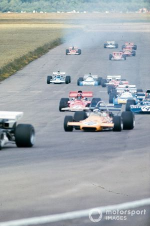 Peter Gethin, McLaren M19A Ford, Francois Cevert, Tyrrell 002 Ford, Emerson Fittipaldi, Lotus 72D Ford, Chris Amon, Matra MS120B, GP di Gran Bretagna del 1971