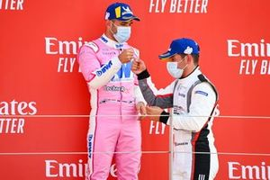 Dylan Pereira, BWT Lechner Racing and Race winner Ayhancan Guven, martinet by Almeras celebrate on the podium