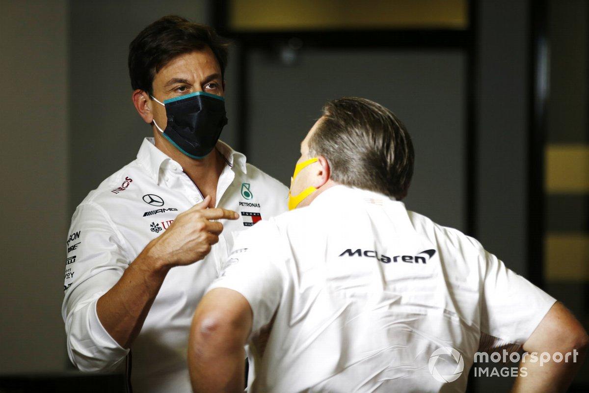 Toto Wolff, Executive Director (Business), Mercedes AMG, and Zak Brown, Executive Director, McLaren