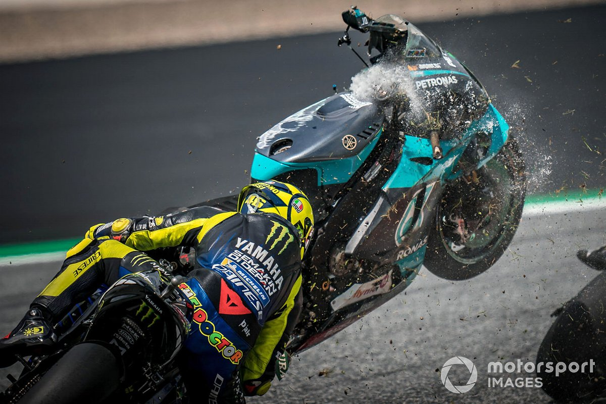 Valentino Rossi, Yamaha Factory Racing, and the bike of Franco Morbidelli, Petronas Yamaha SRT crash