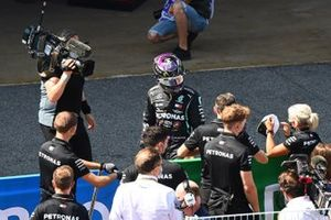 Lewis Hamilton, Mercedes-AMG Petronas F1, celebrates with his team in Parc Ferme after securing pole
