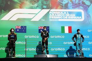 Race winner Oscar Piastri, Prema Racing, second place Alexander Peroni, Campos Racing, third place Matteo Nannini, Jenzer Motorsport