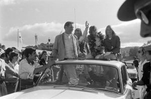 Race winner Jochen Rindt on the victory lap with Jack Brabham, 3rd position