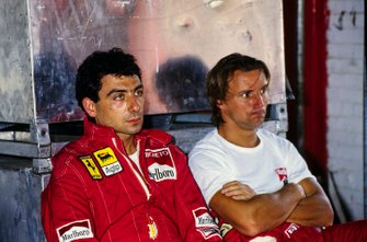 Michele Alboreto with René Arnoux, Ferrari