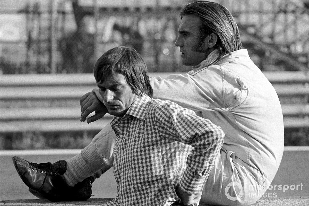 El jefe de Brabham, Bernie Ecclestone y Carlos Reutemann