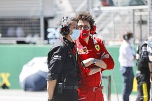 Guenther Steiner, Team Principal, Haas F1, and Mattia Binotto, Team Principal Ferrari, on the grid