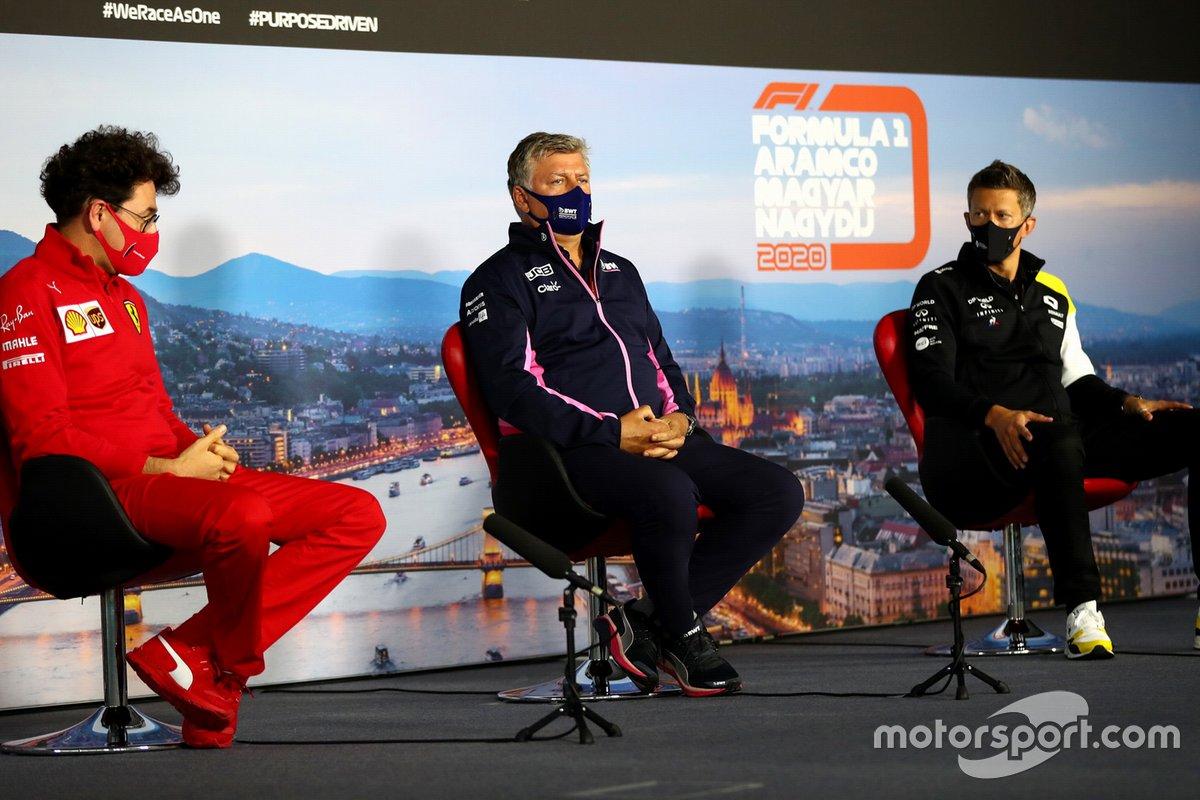 Mattia Binotto, Team Principal Ferrari, Otmar Szafnauer, Team Principal et PDG Racing Point, et Marcin Budkowski, directeur exécutif Renault F1 Team, lors de la conférence de presse des directeurs d'écuries