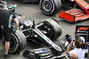 The punctured tyre on the winning car of Lewis Hamilton, Mercedes F1 W11, in Parc Ferme