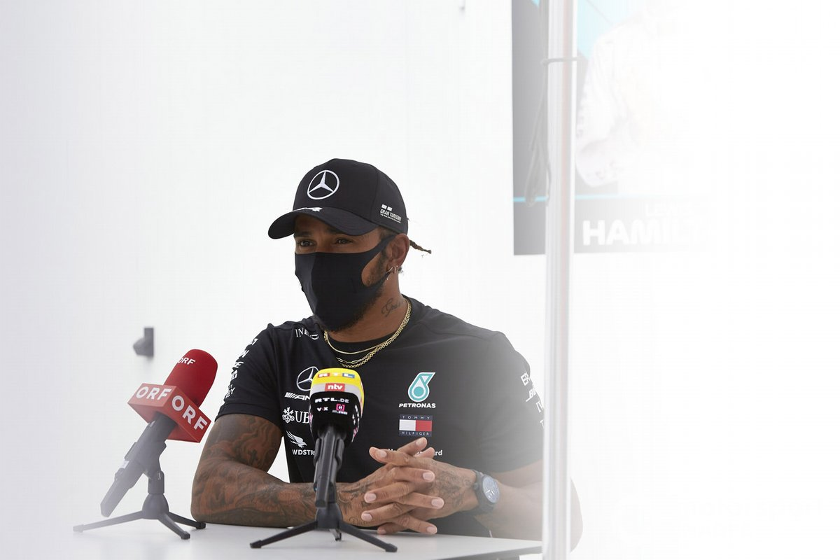 Lewis Hamilton, Mercedes-AMG Petronas F1 speaks to the media