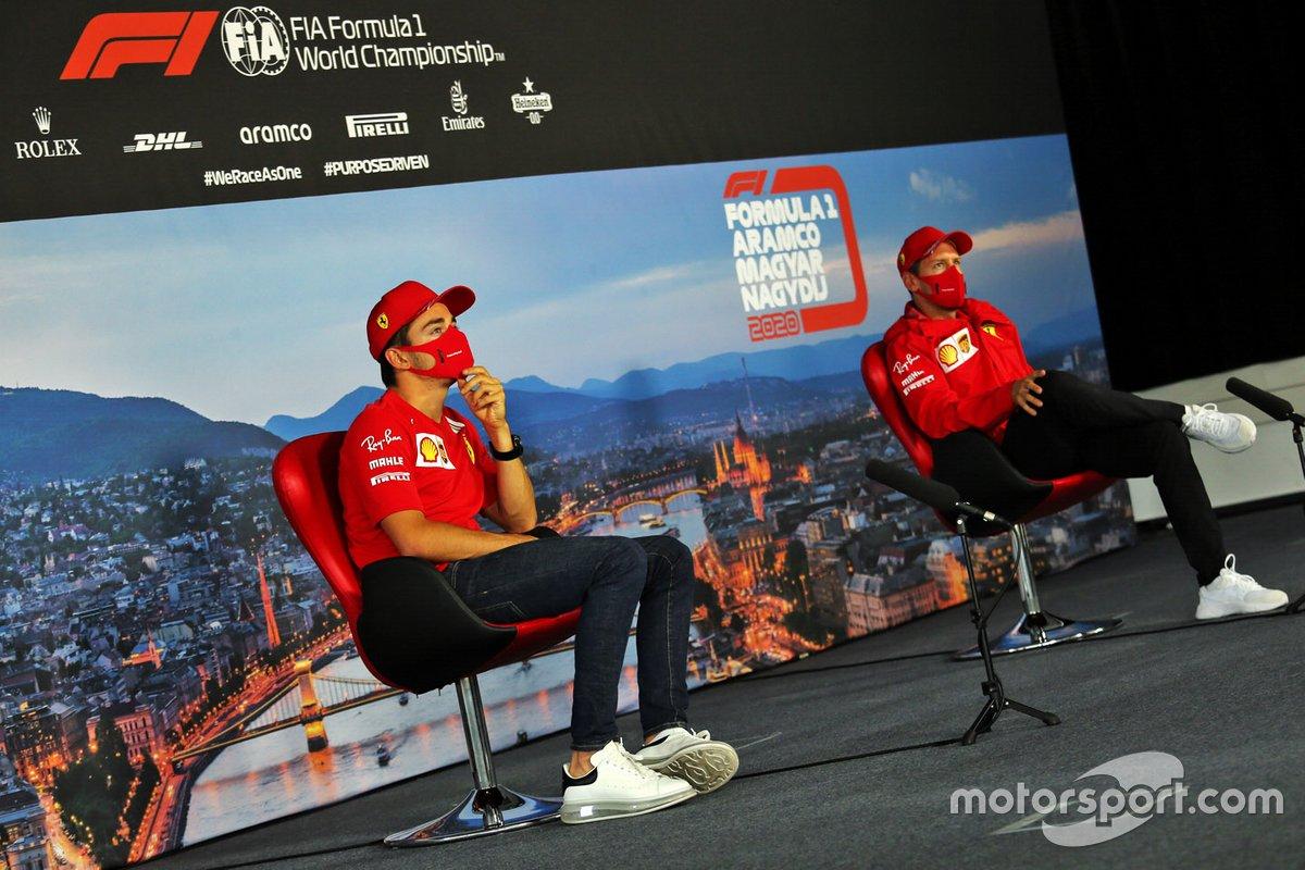 Charles Leclerc, Ferrari y Sebastian Vettel, Ferrari en la conferencia de prensa