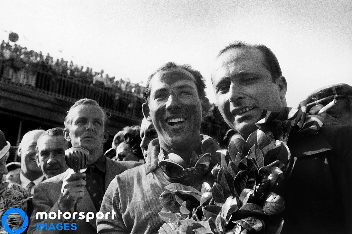 1955 British GP, Stirling Moss and Juan Manuel Fangio, Mercedes-Benz