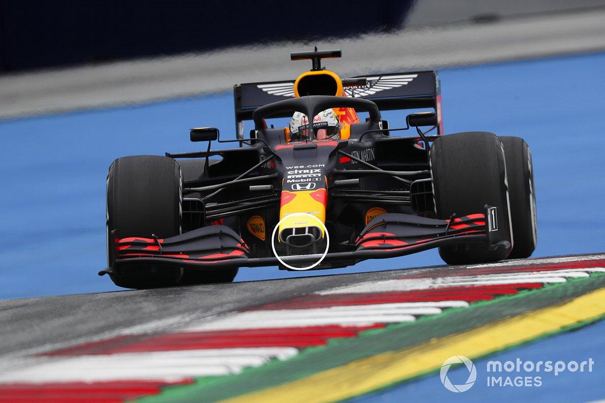 Dettagli del muso della Red Bull Racing RB16, di Max Verstappen,