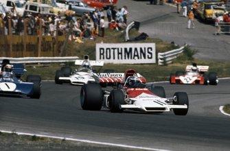 Jean-Pierre Beltoise, BRM P160C, Jackie Stewart, Tyrrell 003 Ford, Peter Revson, McLaren M19A Ford y Tim Schenken, Surtees TS9B Ford