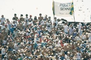 Brazilian fans cheer on home heroes Nelson Piquet and Ayrton Senna