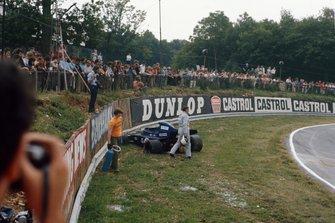 Jackie Stewart, Tyrrell 003 Ford, after running