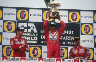 Podium: 1. Ayrton Senna, 2. Gerhard Berger, 3. JJ Lehto
