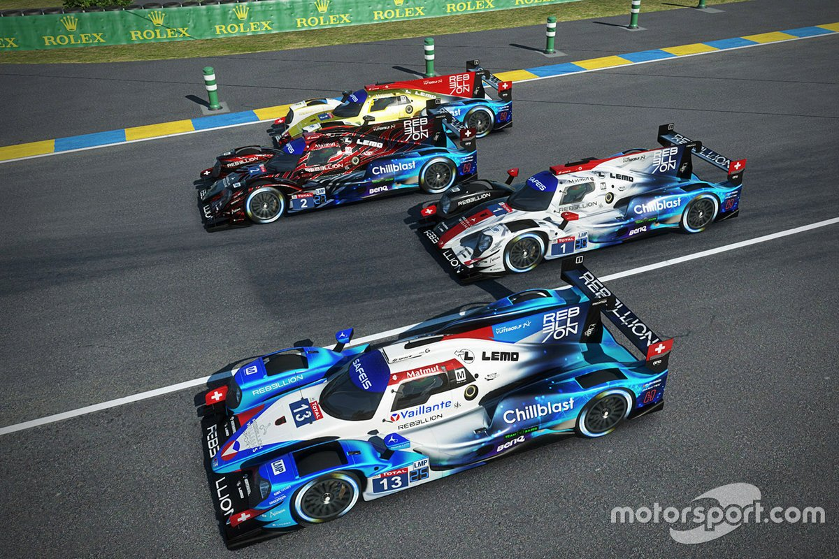 #13 Rebellion Williams Esport Oreca 07 LMP2: Agustin Canapino, Jack Aitken, Alex Arana, Michael Romanidis, #1 Rebellion Williams Esport Oreca 07 LMP2: Louis Deletraz, Raffaele Marciello, Nikodem Wisniewski, Kuba Brzezinski, #2 Rebellion Williams Esport Oreca 07 LMP2: Gustavo Menezes, Bruno Senna, Petar Brljak, Dawid Mroczek