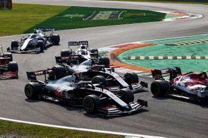 Romain Grosjean, Haas VF-20, Kevin Magnussen, Haas VF-20, George Russell, Williams FW43, Nicholas Latifi, Williams FW43, and Sebastian Vettel, Ferrari SF1000