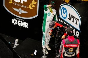 Will Power, Team Penske Chevrolet celebrates winning the Harvest GP Race 2, Colton Herta, Andretti Harding Steinbrenner Autosport Honda, Alexander Rossi, Andretti Autosport Honda